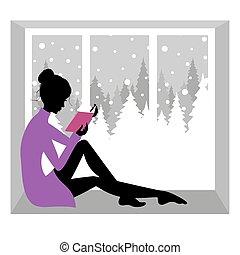 閱讀, 女孩, 書