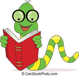 閱讀, 愉快, 書, 虫