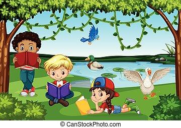 閱讀, 書, 孩子, 自然