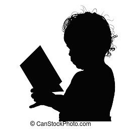 閱讀, 黑色半面畫像, 插圖, 孩子