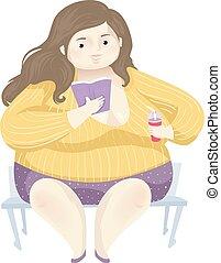 閱讀, positivity, 肥胖, 書, 插圖, 女孩