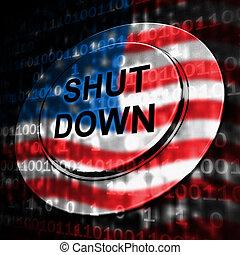 關閉, 休假, 美國, 意味著, 按鈕, 政府, 政治, 下來, 停工, 國家