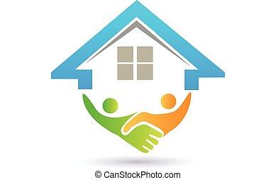 關閉, 矢量, 房子, 圖像, 握手, 概念, successf