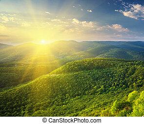 陽光普照, mountain., 早晨