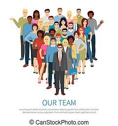 隊, 人們, 專業人員, 套間, 海報, 人群