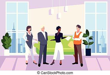 隊, 人們, 工作, 協調, 辦公室, 辦公室, 友好, 事務, 組