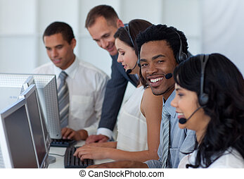 隊, 他的, 經理, 中心, 談話商業, 電話