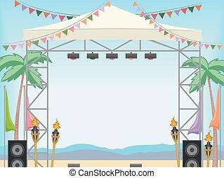 階段, 框架, 海灘, 天