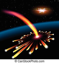 隕石, 撞擊, 卡片, 空間