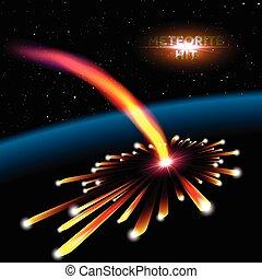 隕石, 爆炸, 卡片, 空間