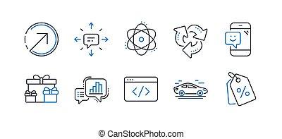 集合, 事務, sms., 方向, 圖象, 矢量, 這樣, 再循環