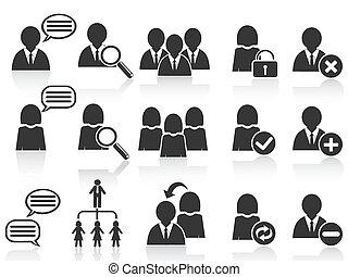 集合, 人們, 符號, 圖象, 黑色, 社會