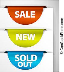 集合, 出售, 銷售, /, 標簽, 新, 輪, 在外