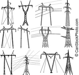 集合, 力量, 電, lines., 傳輸, 矢量, 插圖