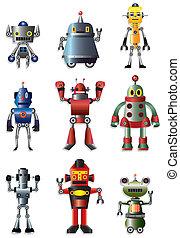 集合, 卡通, 機器人, 圖象