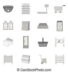 集合, 單色, 風格, 超級市場, 圖象