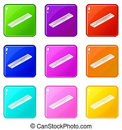集合, 圖象, 顏色, 彙整, 9, 板條, 木材