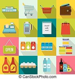 集合, 套間, 風格, 超級市場, 圖象