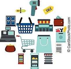 集合, 套間, ctyle, 超級市場, 圖象