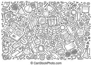 集合, 對象, 科學, 符號, 主題, 矢量, 卡通