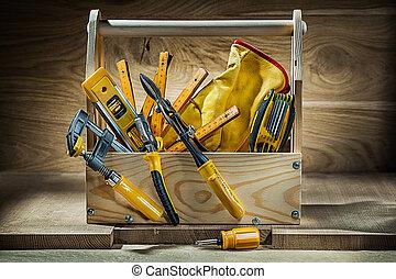 集合, 工作, 木制, 葡萄酒, 木頭, 背景, 大, 工具箱, 工具