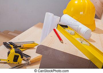 集合, 工作, 木製的階梯, 步驟, 工具, 看法