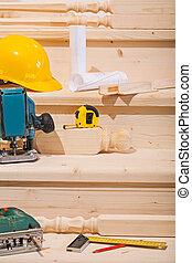 集合, 工作, seteps, 梯子, 木制, 工具