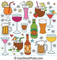 集合, 心不在焉地亂寫亂畫, 啤酒, 矢量, 酒, 喝