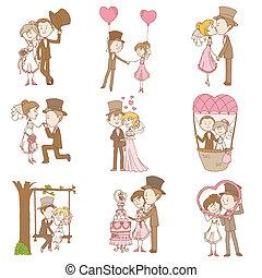 集合, 心不在焉地亂寫亂畫, 新郎, -, 新娘, 矢量, 設計, 剪貼簿, 邀請, 婚禮, 元素
