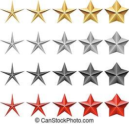 集合, 星, 圖象, 被隔离, 背景。, 矢量, 白色