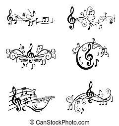 集合, 注釋, -, 插圖, 矢量, 音樂