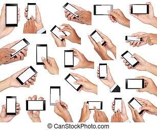 集合, 流動, 屏幕, 手, 電話, 藏品, 空白, 聰明