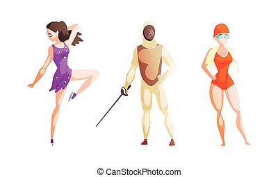 集合, 滑冰者, 游泳者, 人, 運動員, 圖, 運動, 買賣臟物的人, 插圖, 卡通, 矢量, 女孩, 專業人員