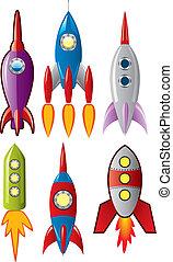 集合, 火箭, 空間, 船, 被風格化, 矢量, retro