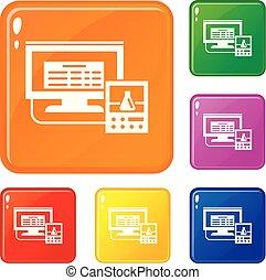 集合, 監控, 圖象, 顏色, 實驗室, 矢量, 數字
