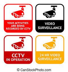 集合, 監視, cctv, 符號, pictogram, 照像機, 影像, 安全