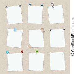 集合, 矢量, 設計, 樣板, 空白, 屠夫, pins.
