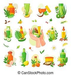 集合, 礦泉, illustrations., 產品, 自然, 化妝品, 油, 徽章, 矢量, 標籤, wellness., 保健, 有机