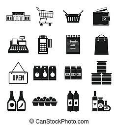 集合, 簡單, 風格, 超級市場, 圖象