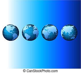 集合, 系列, 全球, -, 矢量, 世界