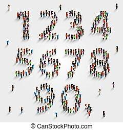 集合, 組, 人們, 數字, form., 大