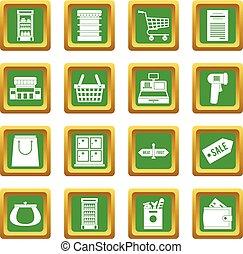 集合, 綠色, 超級市場, 圖象