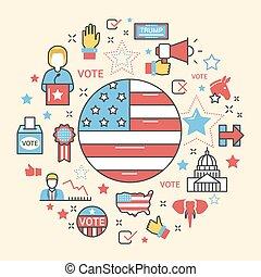 集合, 藝術, 美國, 圖象, 矢量, 選舉, 線, 2016, 總統, 稀薄