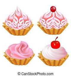 集合, 蛋糕, 粉紅色