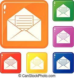集合, 表, 圖象, 顏色, 信封, 紙, 矢量