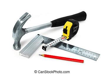 集合, 被隔离, 建設, 背景, 基本, 白色, 工具