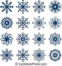 集合, 被隔离, 形狀, 背景。, 白色的雪花