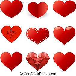 集合, 被隔离, 形狀, 背景。, 矢量, 心, 白色紅