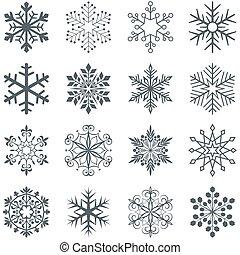 集合, 被隔离, 形狀, 背景。, 矢量, 白色的雪花