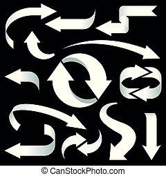 集合, 被隔离, 背景。, 黑色的箭, 白色